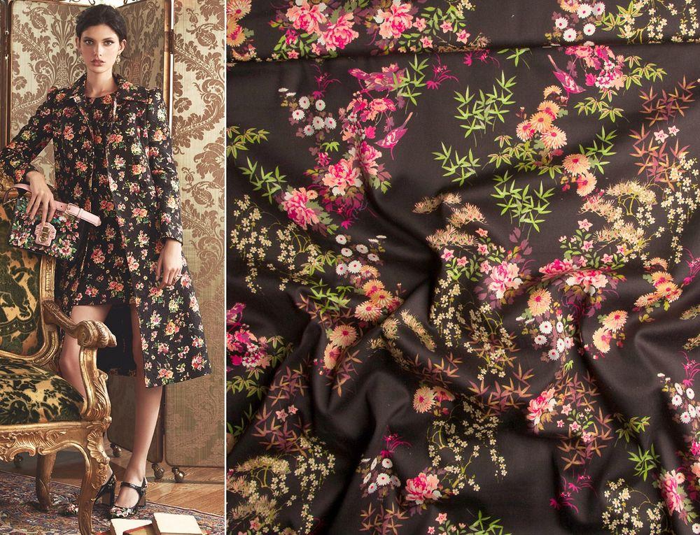 хлопок, цветочный принт, летнее платье, ткани из италии, ткани для шитья