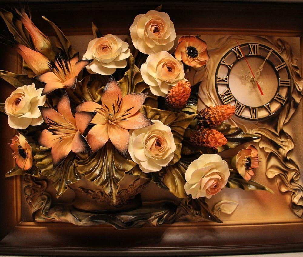 Удивительной красоты украшения и панно из кожи