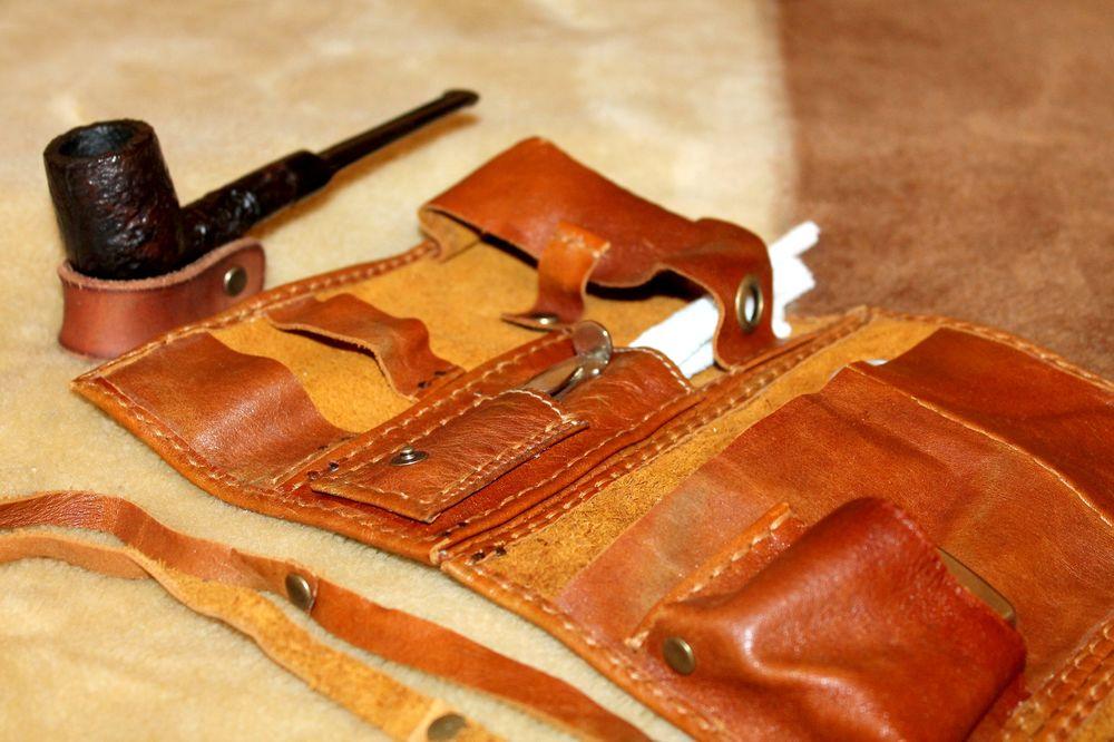кошелек из кожи, трубка, handmade