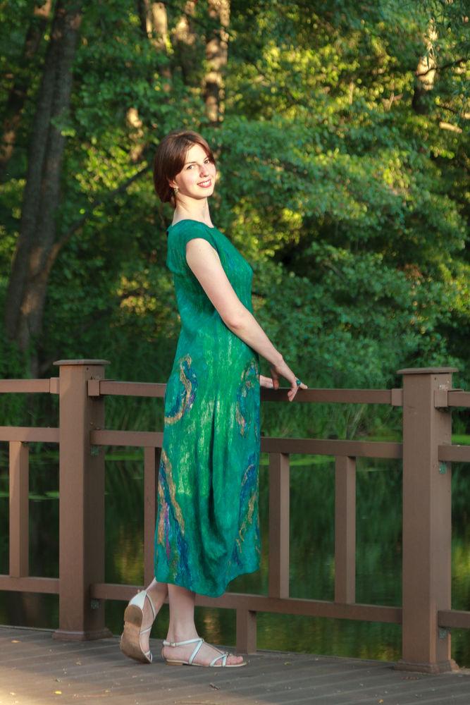 платье валяное, платье макси