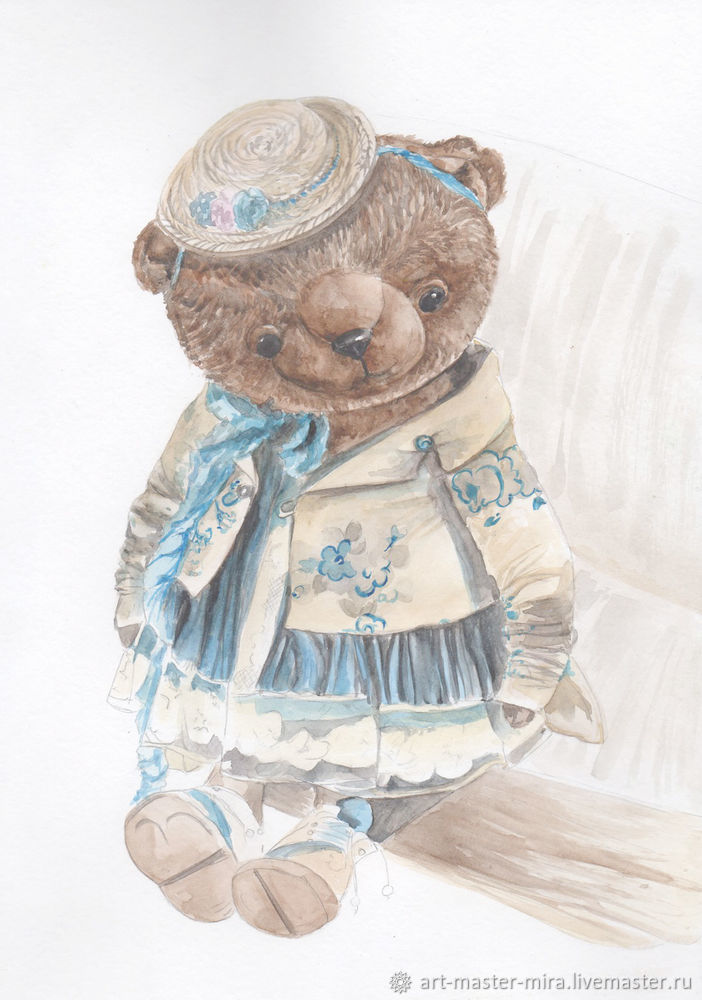 Как нарисовать мишку Тедди акварелью, фото № 9