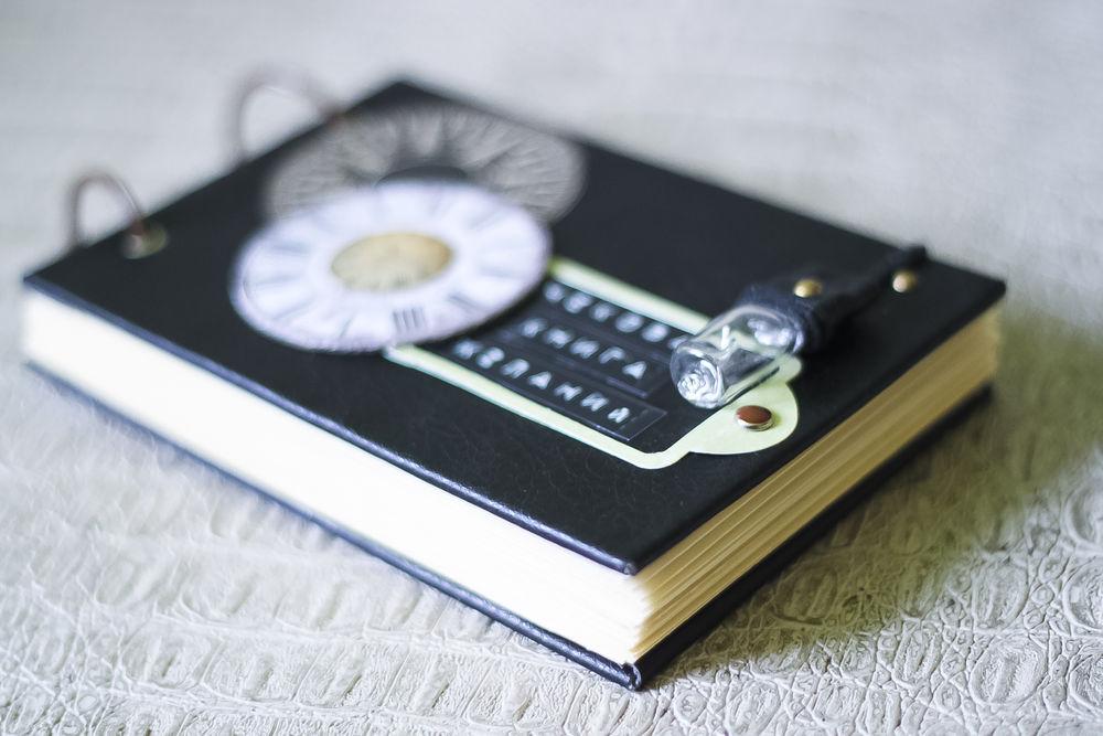 Чековая книжка желаний в чёрной кожаной обложке, фото № 8