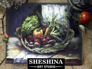 Видеоурок: рисуем корзину овощей сухой пастелью. Ярмарка Мастеров - ручная работа, handmade.