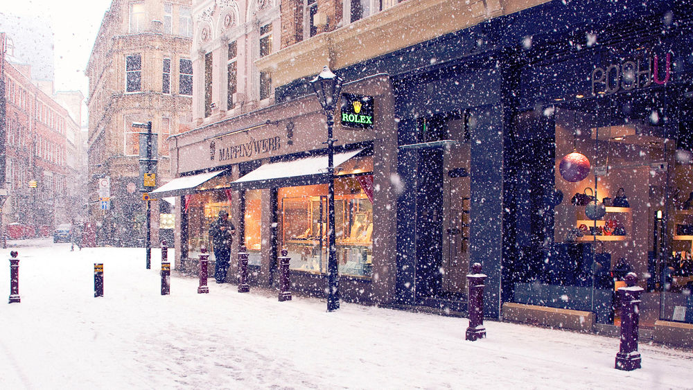 снегопад, зима, снег