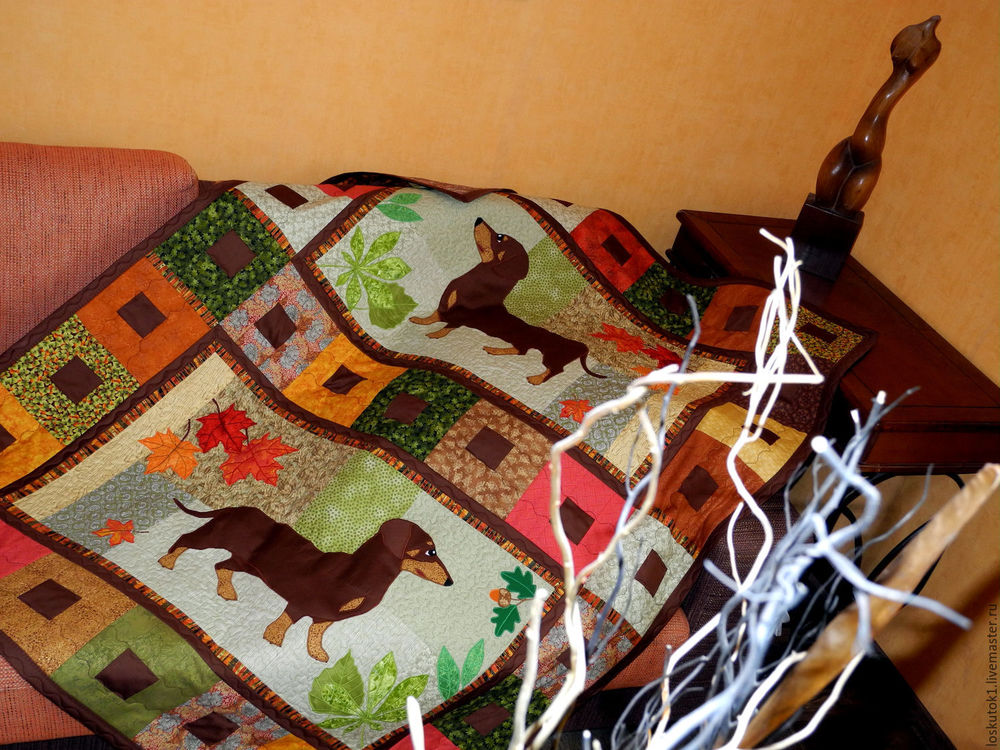 щенок, одеяло, плед пэчворк, аппликация из ткани