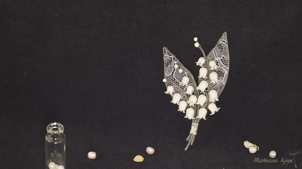 брошь цветок, украшения ручной работы, брошь ландыш винтаж