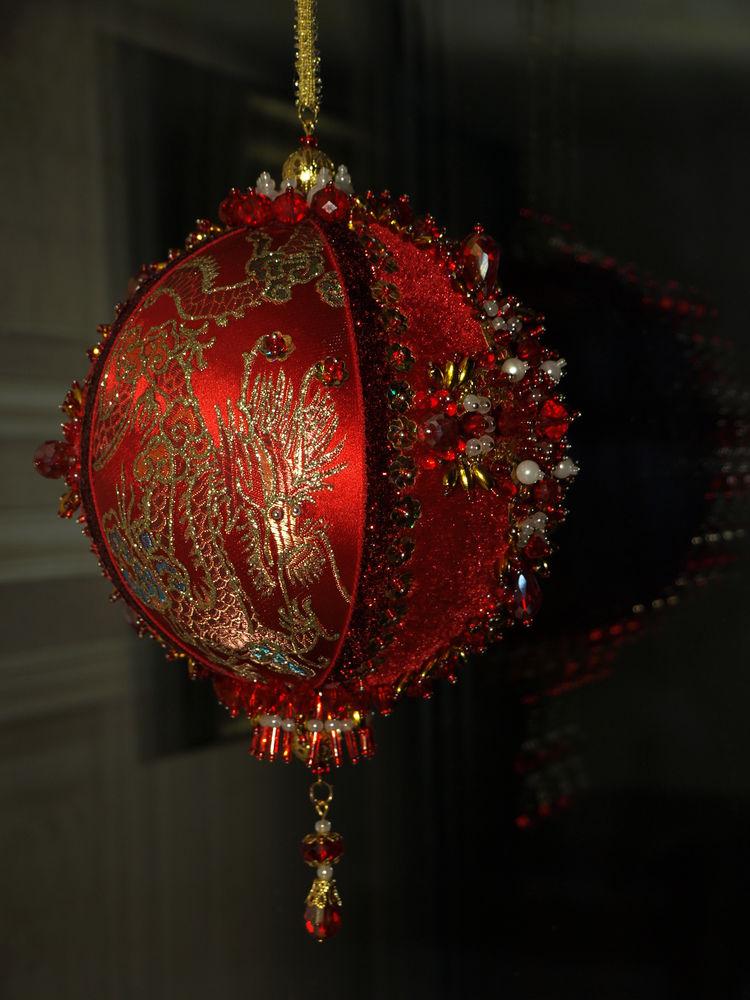 елочный шар, шар красный дракон
