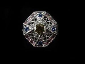 """Аукцион на Кольцо """"Восточный Дворец"""" С Цитрином,Розовым Топазом,Голубым Топазом. Ярмарка Мастеров - ручная работа, handmade."""