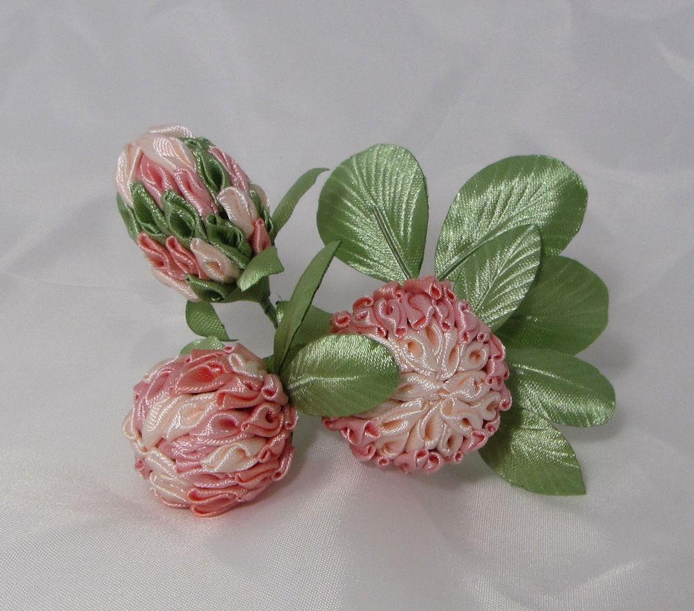 цветы из ткани, бутоньерка, канзаши, розовый клевер