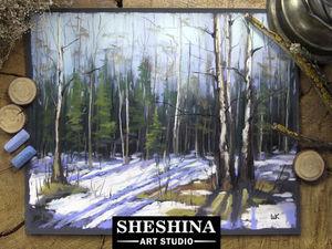 Видеоурок: рисуем последний снег в весеннем лесу сухой пастелью. Ярмарка Мастеров - ручная работа, handmade.