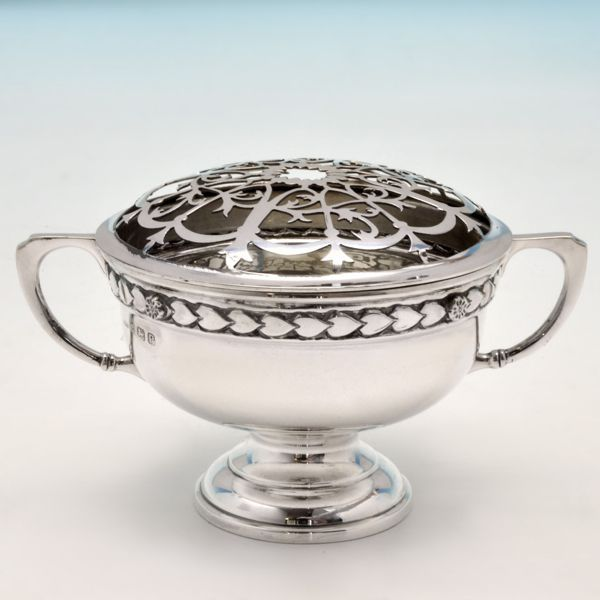 George VI Sterling Silver Rose Bowl with Flower Frog Cover, E. W. Hagwood, Birmingham 1939