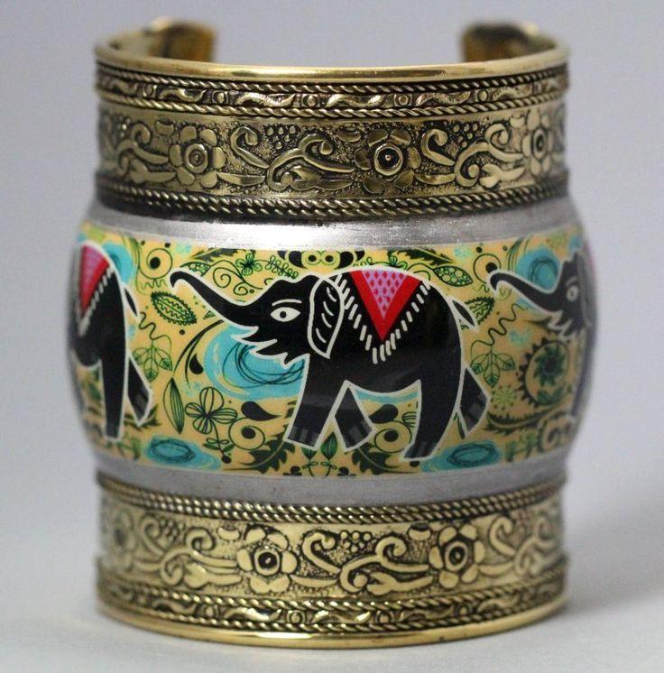 Elephant Cuff Tribal Bracelet Ethnic Bangle Ornate Kuchi India Arm Jewelry Antique Gold Hand painted