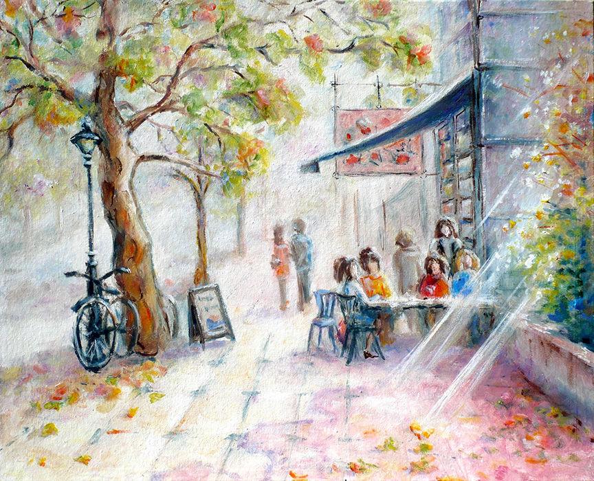 скоро осень, картина маслом, городской пейзаж