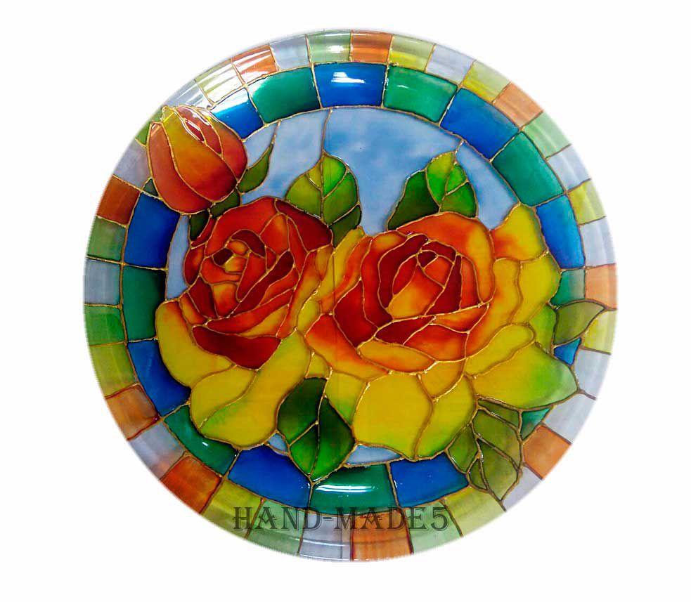 тарелка, витражная роспись