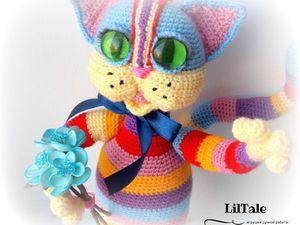Новинка! Вязаная игрушка Радужный кот | Ярмарка Мастеров - ручная работа, handmade