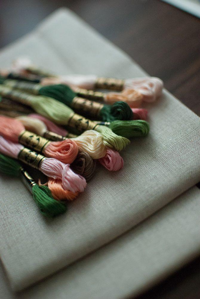 магниты, вышивка крестом, цветы, процесс работы