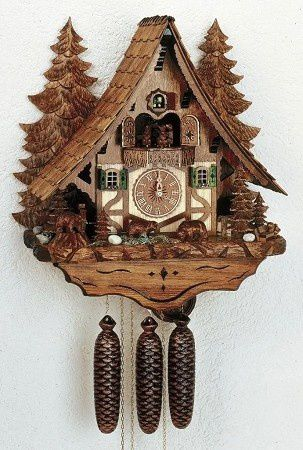 Model #8TMT 2653/9 Curved Roof Chalet Cuckoo Clock with Animated Beer Drinker and Sausage Cutter.