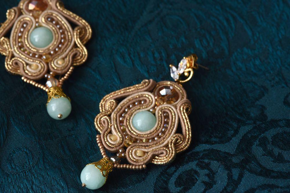 сутажные украшения, серьги с камнями, серьги, бирюзовый, пуссеты, длинные серьги