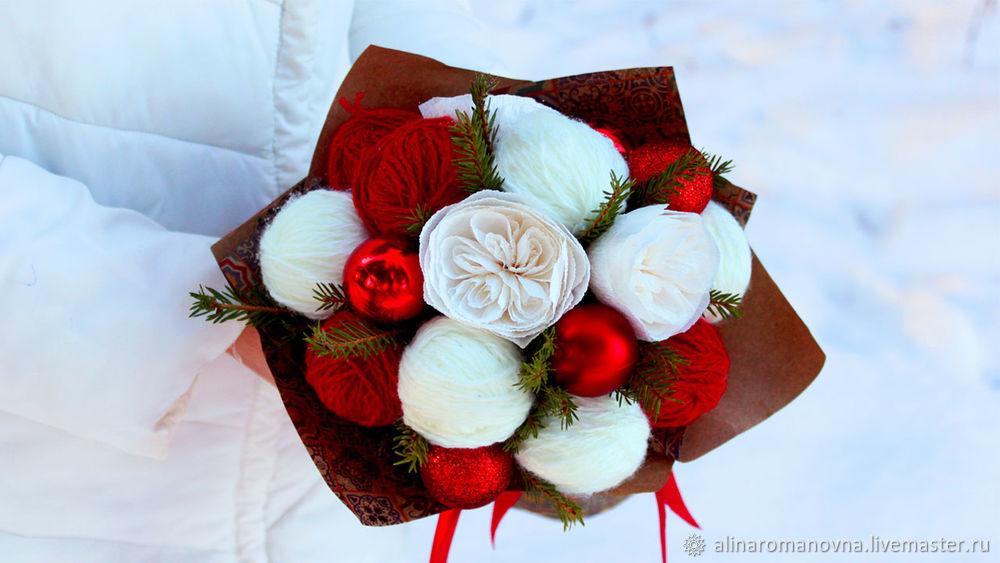 букет из клубков, алина романовна, новогодний подарок, подарок маме, подарок бабушке, необычный букет