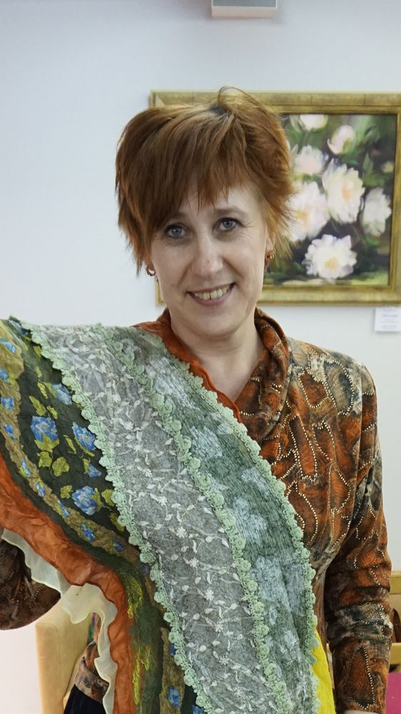 онлайн обучение, мастер-класс по валянию, своими руками, шарфы на шелке, шарфик
