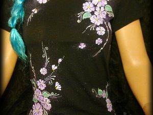 Как сделать цветную роспись акриловыми красками на темной футболке. Ярмарка Мастеров - ручная работа, handmade.