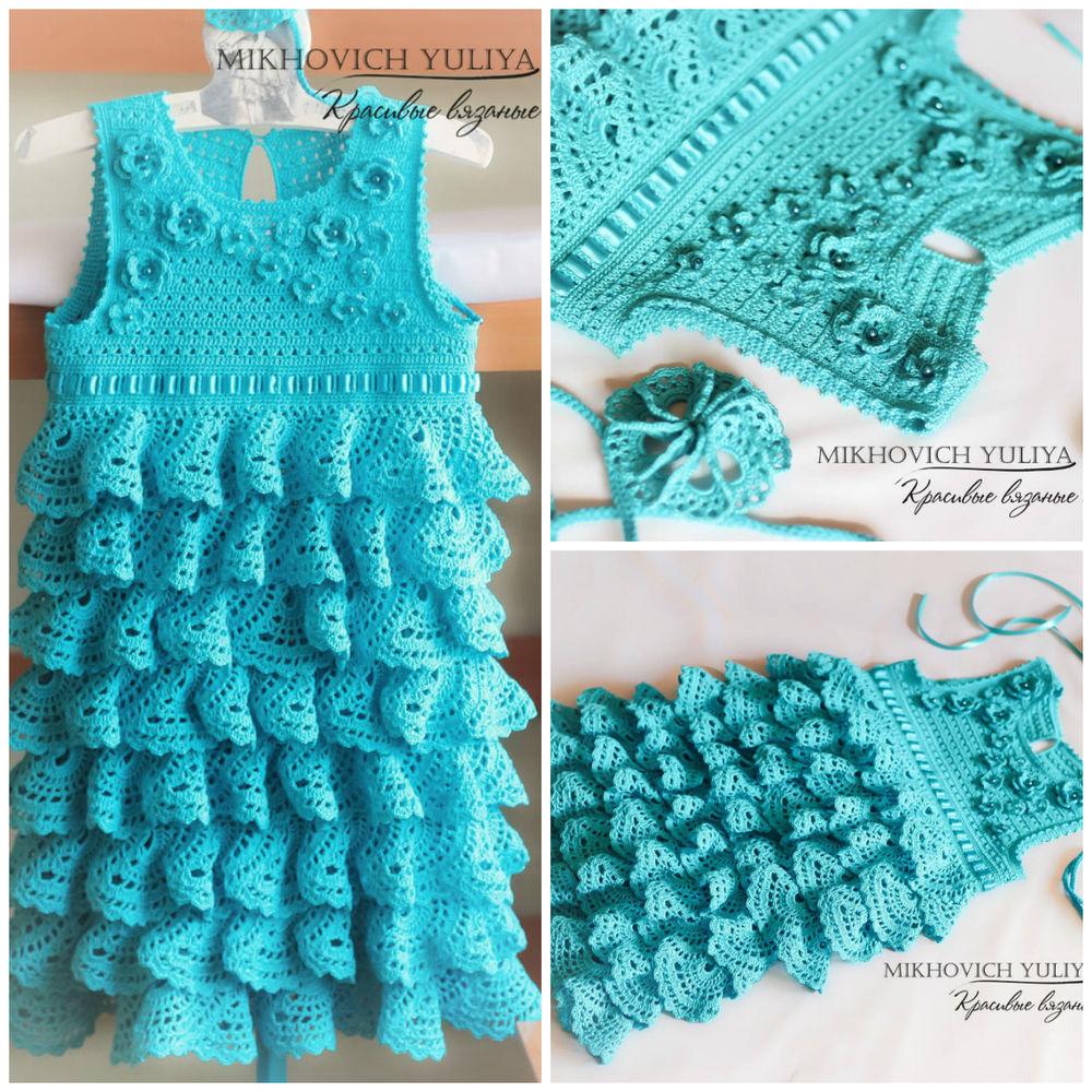 Вязание платья для девочки с оборками