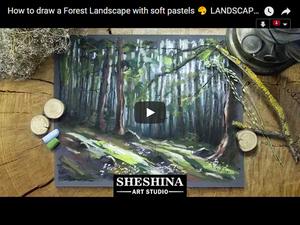 Видеоурок: рисуем лесной пейзаж сухой пастелью. Ярмарка Мастеров - ручная работа, handmade.