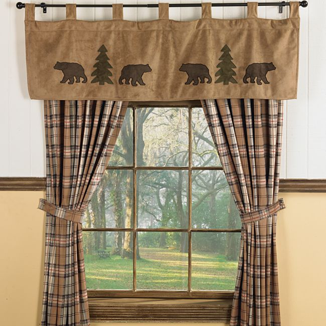 Bear & Trees Wildlife Window curtains for Cabins