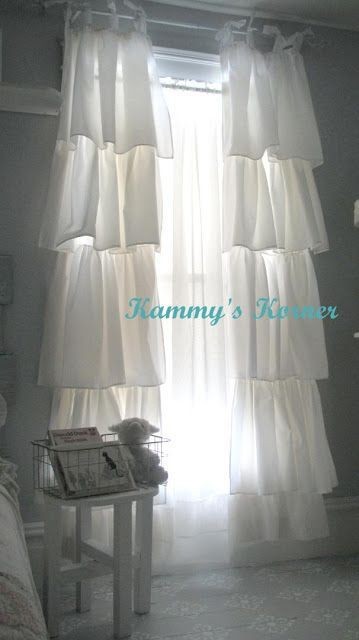 DIY:: Shabby Chic Curtains - these are so pretty!!! Be great in the room with the white iron bed!