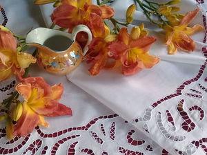 Старинный накамодник. Вышивка ришелье. 1950г. Ярмарка Мастеров - ручная работа, handmade.