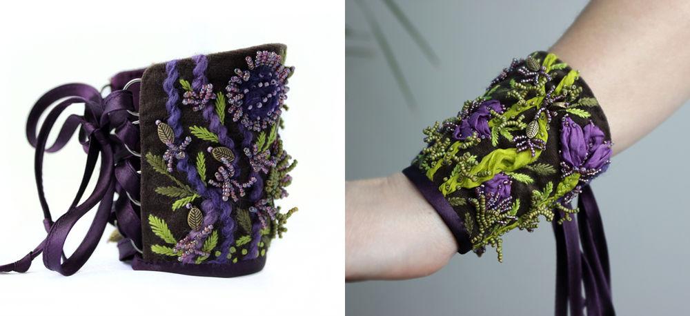 браслет текстильный, цветы браслет