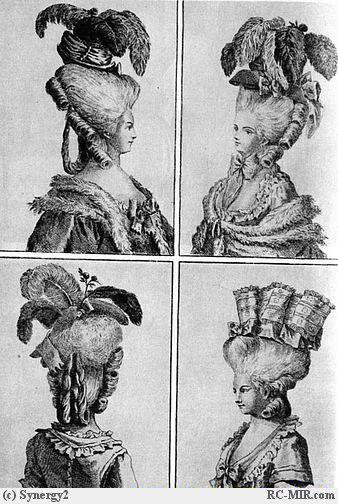 1780 г. Высокая куафюра; чепец в виде тюрбана с перьями.