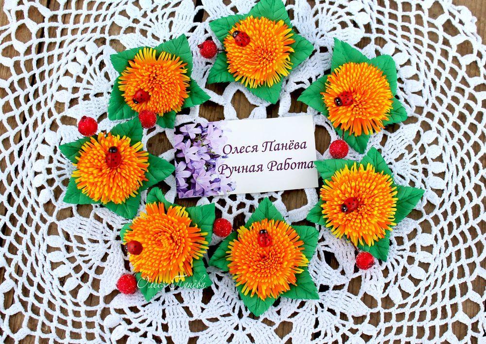 яркие цветы, резинка для волос
