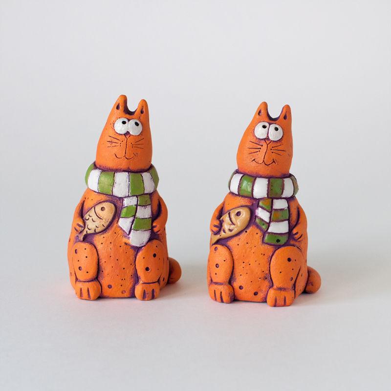 может веселые коты керамика сделан цельной сосны