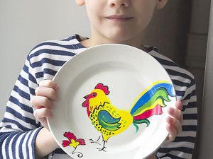 Готовим подарок на Новый год для бабушки: расписная тарелочка с петушком. Ярмарка Мастеров - ручная работа, handmade.