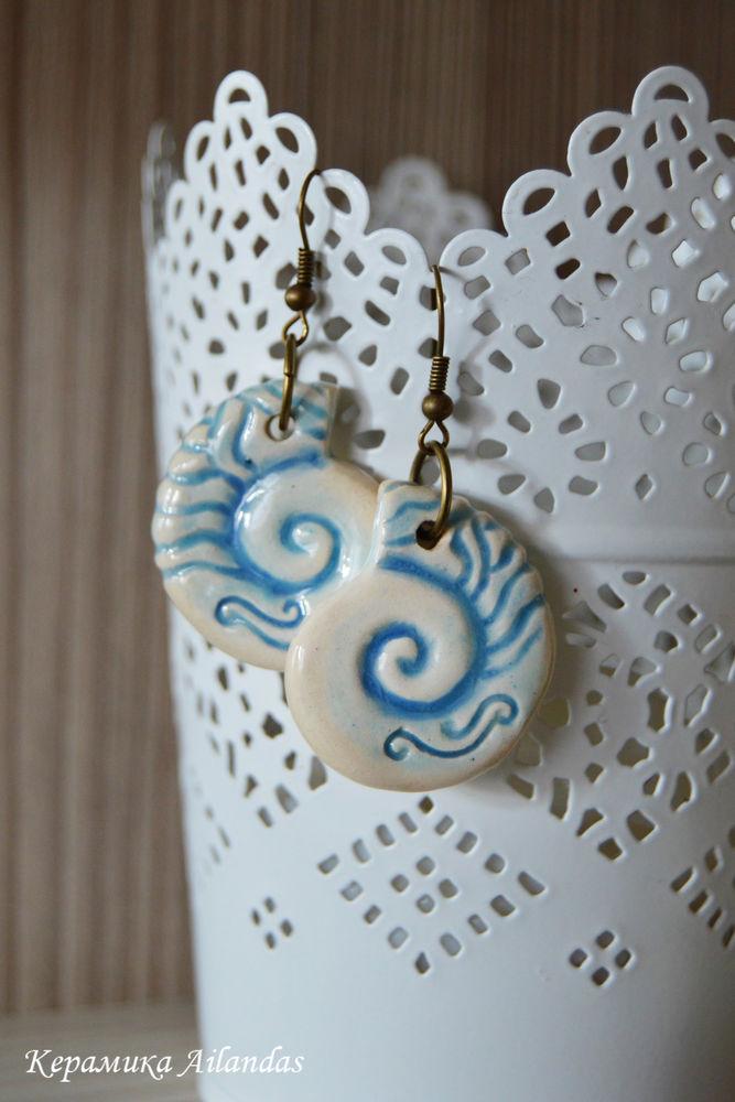 песнь моря, керамические серьги, серьги море, синий, волна