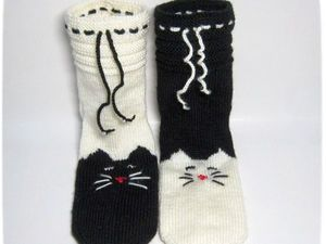 Вязание на 5 спицах: носки «Мурчащие» своими руками | Ярмарка Мастеров - ручная работа, handmade