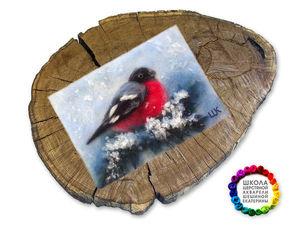 Видео мастер-класс: создаем из шерсти картину «Снегирь». Ярмарка Мастеров - ручная работа, handmade.