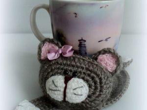 Вяжем крючком котика-подставку под чашку | Ярмарка Мастеров - ручная работа, handmade