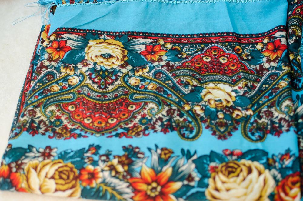 павлопосадский, синий платок