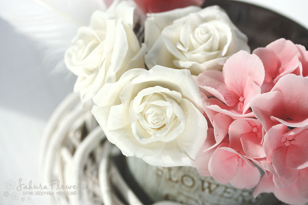 холодный фарфор, роза, гортензия, новости магазина, шебби-шик