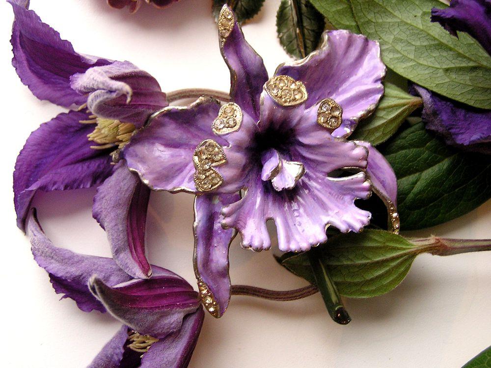 винтажные украшения, брошь-цветок, орхидеи