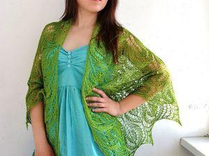 Аукцион! Зеленая льняная шаль!. Ярмарка Мастеров - ручная работа, handmade.