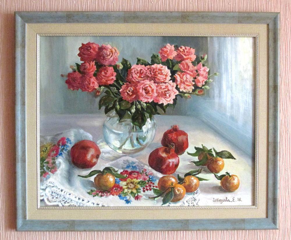 картина в раме, натюрморт маслом, розы, фрукты, живопись маслом, авторская работа, купить в москве, красивая картина купить