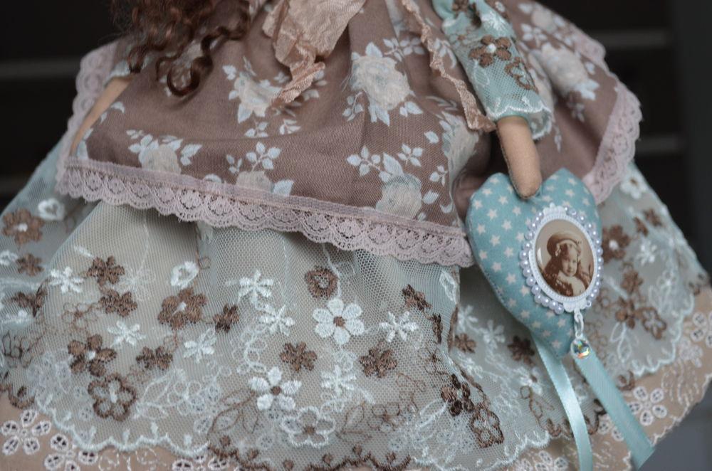 кукла ручной работы, бирюзовый