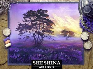 Видео мастер-класс: рисуем восход на лавандовом поле сухой пастелью. Ярмарка Мастеров - ручная работа, handmade.