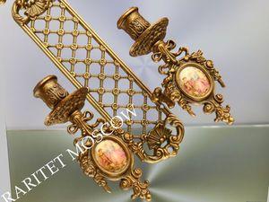 Подсвечник бронза латунь фарфор Германия 15. Ярмарка Мастеров - ручная работа, handmade.