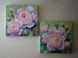 Пишем маслом диптих «Розы Остина». Ярмарка Мастеров - ручная работа, handmade.