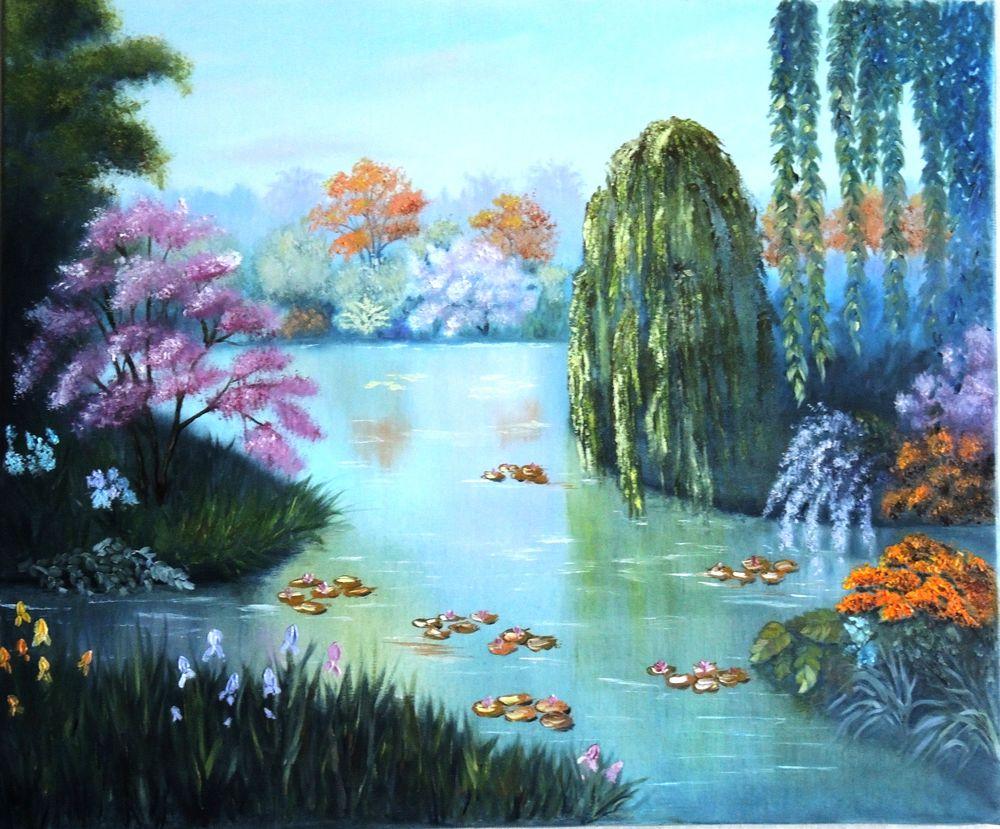 озеро, символы, картина маслом пейзаж