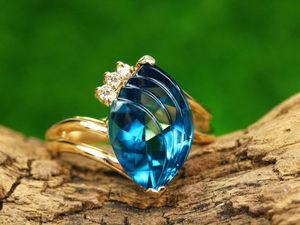 Красивое золотое кольцо 14К в стиле винтаж с голубым лондон топаз и бриллиантами!! | Ярмарка Мастеров - ручная работа, handmade